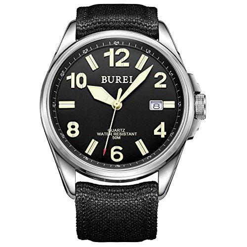 Orologio Militare Unisex BUREI , Orologio Analogico con Datario, Ore in Numeri Arabi, Cinturino in Tale Nero