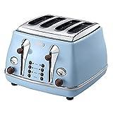 Delonghi Icona Vintage 4 Slice Toaster, Azure Blue - CTOV4003AZ
