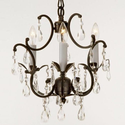 3 Country Style Pendant Vanity Light Fixture: Wrought Iron Crystal Chandelier Lighting Country French 3