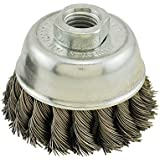 IVY Classic 38901 3-Inch x 5/8-Inch-11 Arbor, Stainless Steel Knot Wire Cup Brush - 0.020-Inch Coarse, 1/Card