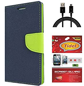Tidel Premium Table Talk Fancy Diary Wallet Flip Cover Case for Micromax Canvas Nitro A310 (Blue) With Tidel Screen Guard & Data Cable