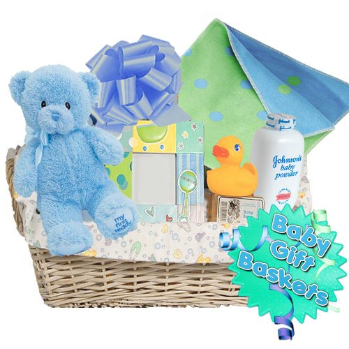 "Little Miracles Baby Boy ""Bath Time Fun"" 20 Piece Deluxe Baby Gift Basket, Blue"