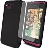 Glossy Hybrid Rubberized - Hard Mobile Phone Case Cover For HTC Rhyme G20 S510B + Clear Screen Film Protectorn Proctector / Black