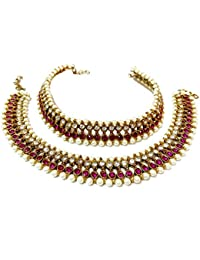 Glittering World Designer Pink Stone And Pearl Alloy Crystal Anklets For Women