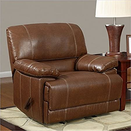Global Furniture Bonded Leather Reclining Rocker, Brown