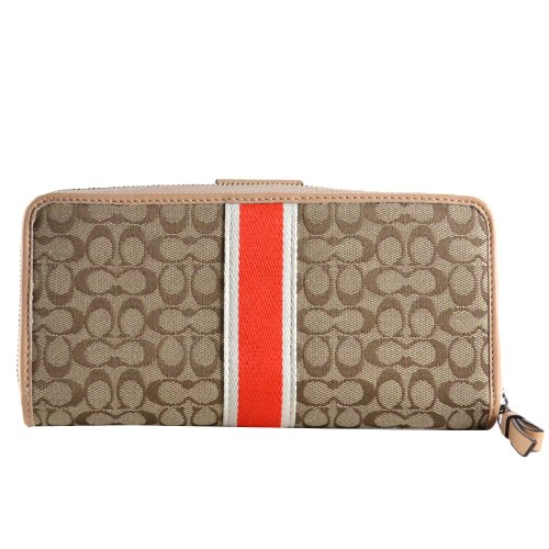Coach   Coach Signature Stripe 6cm Accordion Zip Wallet w/ Tab 50626 Khaki Hot Orange