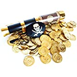 Pirate Play Set- 144 Plastic Gold Treasure Coins, Telescope, and Captain's Eye Patch by Express Novelties Online