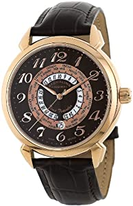 Stuhrling Original Men's 118A.SO.3345K59 Classic Traveler World Time Swiss Quartz Brown Leather Strap Watch