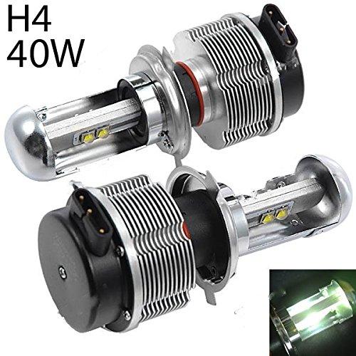 Riorand® 2Pcs Dc 12-24V H4 40W 6000K 4-Cree Led Car White Light Headlight Lamp Rr-306442