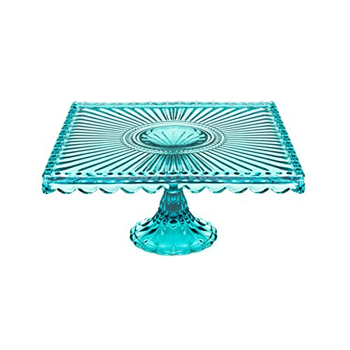 Loire Glass Square Cake Stand - Blue Square Footed Cake