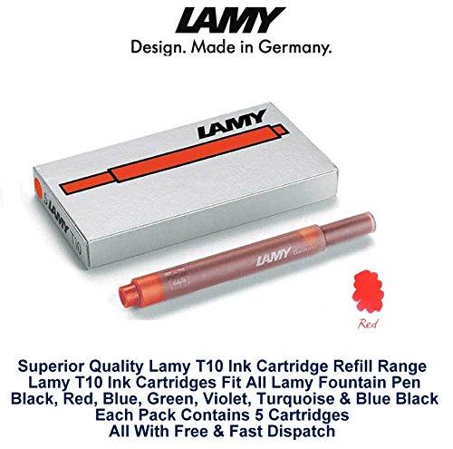Lamy T10 Rouge cartouches d'encre pour stylo-plume de rechange pour toutes les recharges Lamy Stylo Fountian 5-25 Lot de cartouches d'encre)