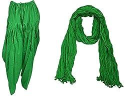 Bhagwati Craft Women's Cotton Regular Fit Patiala With Dupatta (Green ,SD007 )