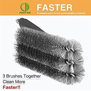 """COMFY MEE Grill Brush BBQ Cleaner, 18""""- 3 Stainless Steel Brushes in 1,Best Barbecue Grill Cleaner, Effective and Durable,Perfect for Char-Broil, Weber, Porcelain and Infrared Grills,A Great Gift for All Barbecue Lovers"""