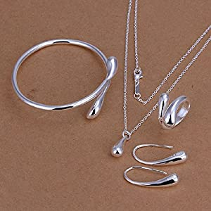 Hot Sale Wedding Fashion 925 Silver Plated Jewelry Set Big Hand Chain Bracelet Necklace Ring Hook Oval Earings Eardrop Water Drop