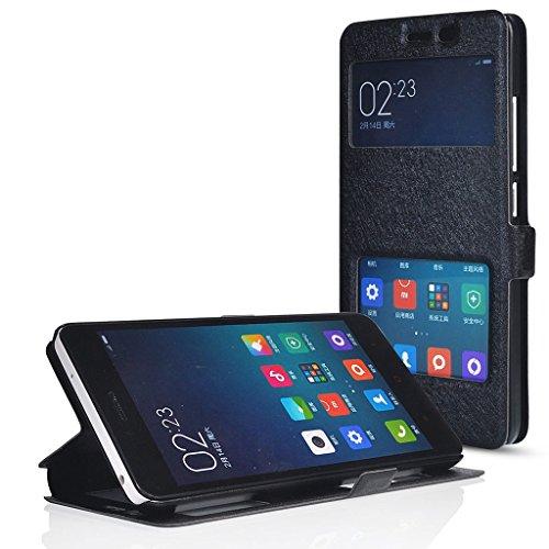 UKDANDANWEI Custodia in pelle Protettiva Cuoio Portafoglio Flip Cover e View Finestra per XIAOMI Hongmi Note 4G LTE (Redmi Note 4G) - Nero