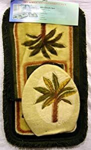 soft palm tree 3 pc bathroom rug set bath rugs
