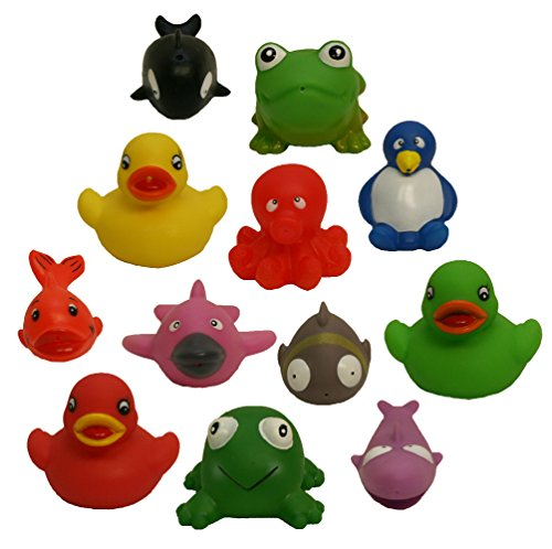 12 Rubber Duckies & Friends Water Squirting Bath Buddies Pack, Waddlers Brand Baby & Kids Bath Tub Fun Toys & Learning Multiple Shapes & Colors Rubber Items, All Depts. Baby Shower, Preschoolers Bath Toy Gift Set front-567606
