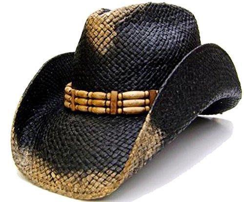 modestone-mens-weathered-look-straw-sombrero-vaquero-s-black-beige