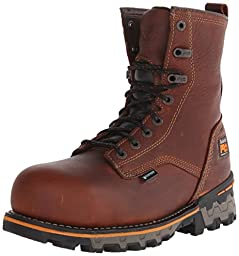 Timberland PRO Men\'s 8 Inch Boondock Composite Toe WP Work and Hunt Boot, Brown Tumbled Leather, 9 M US