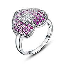 buy Leobon Fleur De Lis Jewelry Love Heart Design Engagement Rings For Women Lady Pink Tourmaline 18K White Gold Plated Ring 2015 New