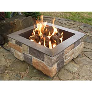 Firescapes smooth ledge square natural gas for Amazon prime fire pit