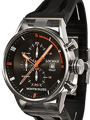 Locman Montecristo 100 Meter Quartz Chronograph Watch with 44mm Case 510BKORBK