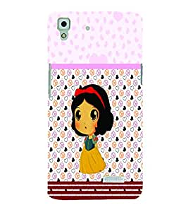PrintVisa Cute Cartoon Art Print & Pattern girl 3D Hard Polycarbonate Designer Back Case Cover for Oppo R7