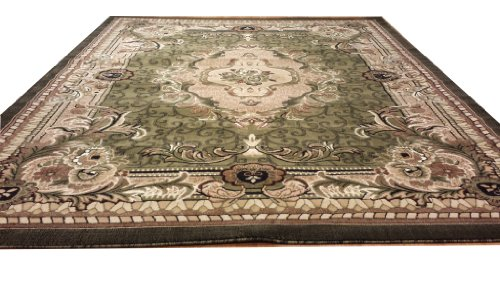 E521 French Aubusson Victorian Traditional Medallion Green Hand Carved 5x8 Actual Size 5'3x7'2 P59.jpg