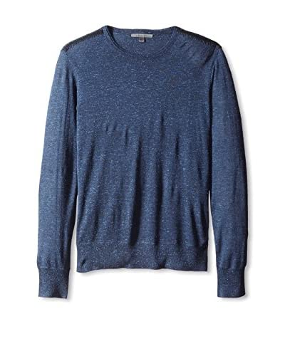 John Varvatos Collection Men's Long Sleeve Crew Neck Sweater with Elbow Patches