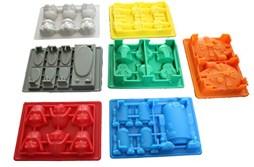 7 Pack Star Wars Style Silicone Molds (Candy Mold, Chocolate Mold, Ice Mold)