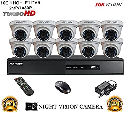Hikvision DS-7216HQHI-E2 16CH Dvr, 10(DS-2CE56DOT-IRP) Dome Cameras (With Mouse)