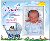 New Baby Boy Personalized Birth Announcement Keepsake Picture Frame Gift - Carriage