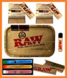 Raw Metal Tray 1 1/4 Rolling Paper W Filter Tips + 3 Doob Tubes + Lighter T4