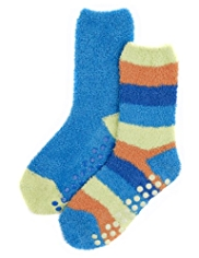 2 Pairs of Assorted Cosy Slipper Socks