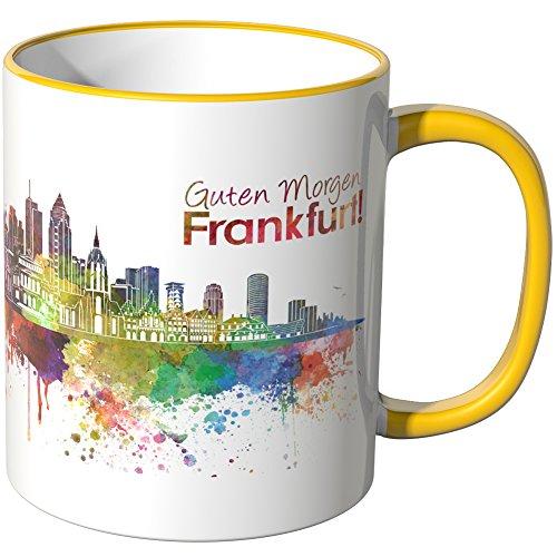 wandkings tasse schriftzug guten morgen frankfurt mit skyline gelb. Black Bedroom Furniture Sets. Home Design Ideas