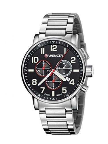 'Wenger 01.0343.105hommes de Attitude Chrono-Boîtier et bracelet en acier inoxydable Argenté Cadran Noir Montre