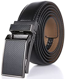 Marino Men\'s Genuine Leather Ratchet Dress Belt with Linxx Buckle, Enclosed in an Elegant Gift Box - Black Design Leather Buckle with Black Leather - Custom: Up to 44\