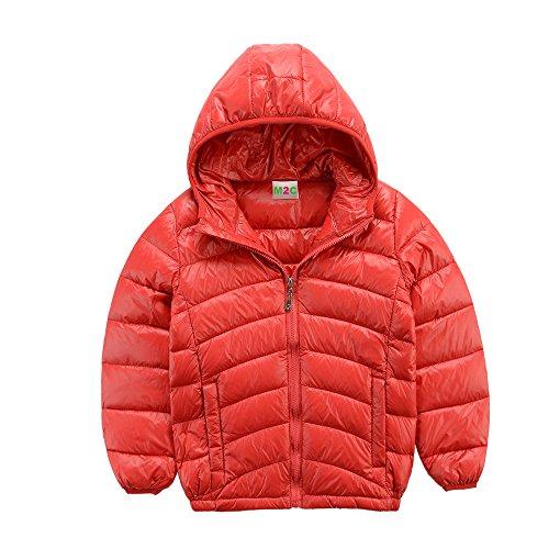 M2C Boys Ultralight Hooded Down Jacket Warm Lightweight Puffer Down Jacket for Boy,Red,3T