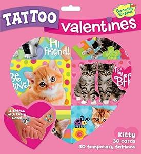 Peaceable Kingdom Kitty Temporary Tattoo Valentine Cards