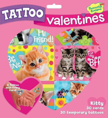Cheapest Price! Peaceable Kingdom / Kitty Temporary Tattoo Valentine Cards