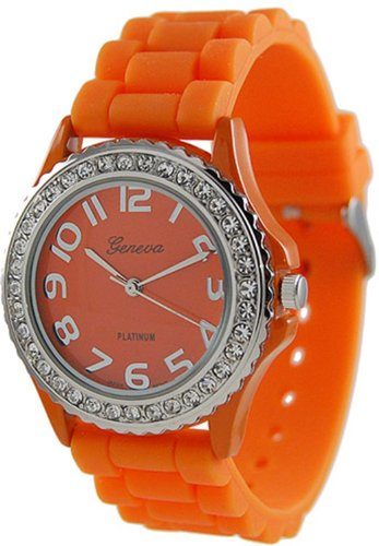 WorldTree Fashion Silica Band Quartz Watch Wristwatch Orange Unisex Watch