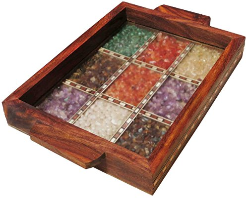 Serving Tray Made with Decorative Crushed Gem Stones in Design of Nine Squares, Must for Home & Dining Purpose