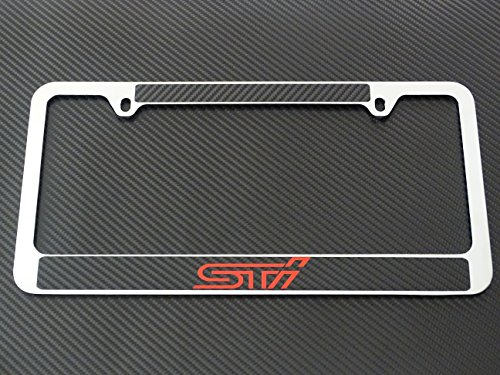 Subaru sti license plate frame chrome metal,carbon fiber detail,Red text (Subaru License Plate Frame Chrome compare prices)