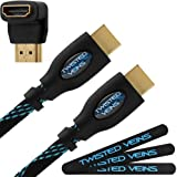 Twisted Veins 50' High Speed HDMI Cable + Right Angle Adapter and Three Micro Velcro Cable Ties (Latest Version Supports Ethernet and Audio Return)