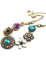 Charms Colorful Gem Stylish Modern Choker Statement Necklace For Girls And Women