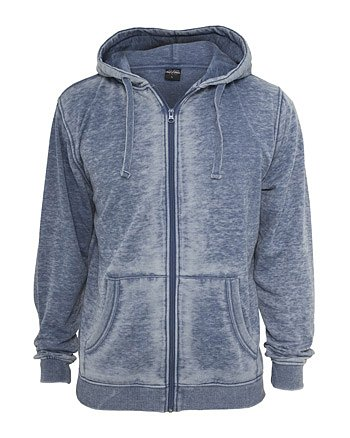 Urban Classics Men Burnout Zip Hoody TB475, Farbe:denim blue;Größe:S