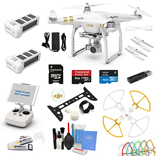 DJI Phantom 3 Professional Drone Quad Copter with Video Camera, 1 Battery, 64 GB Card and Snap on Card, 2 Battery Essential Combo