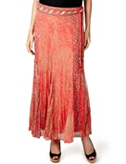 Per Una Faux Snakeskin Print Maxi Skirt with Embellished Belt [T62-2644J-S]