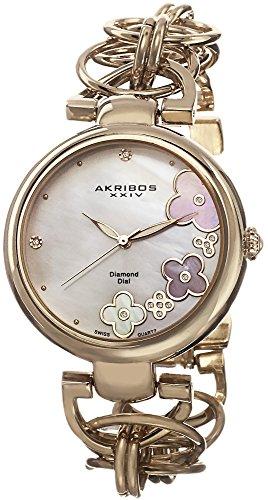Akribos XXIV Women's Lady Diamond Swiss Quartz Diamond Mother-of-Pearl Flower Gold-tone Circle Link Bracelet Watch