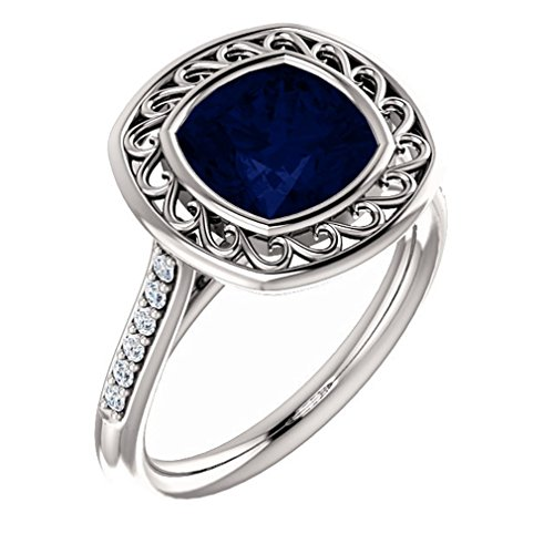 18K White Gold 8X8 Antique Cushion Cut Chatham Created Sapphire And Diamond Ring